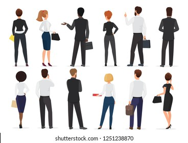 Back view of business office people group, man and woman characters standing together isolated vector illustration.