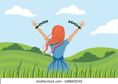 Back view cartoon woman break handcuffs enjoy freedom at natural landscape. Colorful female breaking chains on hands admiring nature scenery. Concept of emancipation, girl power and revolution