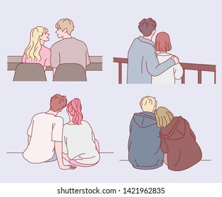 The back view collection of a couple sitting together. hand drawn style vector design illustrations.