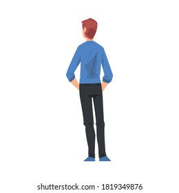 Back View of Guy Standing with Hands in his Pockets, Young Man Viewed from Behind Wearing Casual Clothes and Looking at Something Cartoon Style Vector Illustration