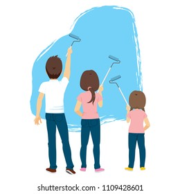 Back view illustration of family painting blue wall with roller