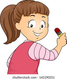 Back View Illustration of Little Kid Girl Holding a Pencil