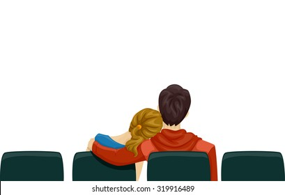 Back View Illustration of a Young Couple on a Movie Date