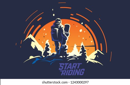 Back view of male snowboarder standing of the top of the hill opposite the big sun. Sports vector illustration