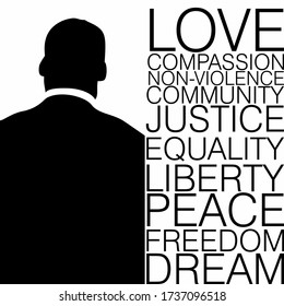 Back view of a man in black and white with ten words on Civil rights movement