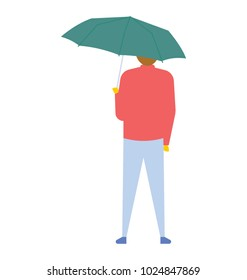 Back view of a man standing under umbrella, flat vector icon