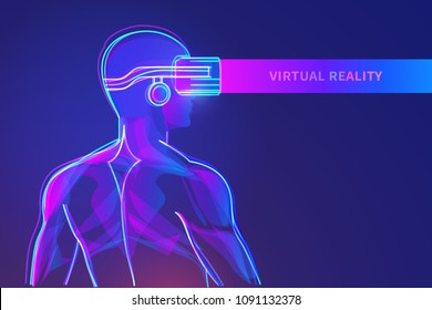 Back view of man with virtual reality headset. Abstract vr world with neon lines. Vector illustration