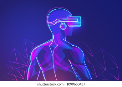 Back view of man with virtual reality headset. Abstract vr world. Vector illustration
