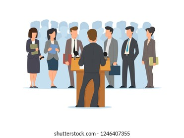 Back View of Public Speaker at Grandstand. Orator Speaking from Tribune. People in Strict Suit Listening. Crowd Silhouette Background. Cartoon Vector Illustration
