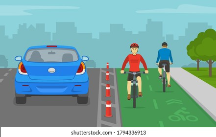 Back view of sedan car and cyclists on bike lane. City road with dedicated bicycle lane. Flat vector illustration template.