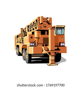 back view of seismic vibrator vehicle vector illustration isolated on white background