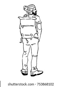 Back view of a standing tourist man traveller with a backpack. Vector illustration.