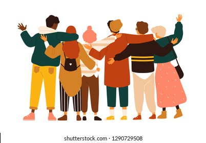 Back view of teenage boys and girls or school friends standing together, embracing each other, waving hands. Group of students or pupils isolated on white background. Flat cartoon vector illustration.