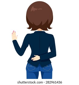 Back view of woman with crossed fingers swearing and lying