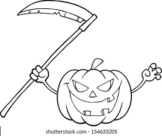 Back And White Scaring Halloween Pumpkin With A Scythe Cartoon Illustration