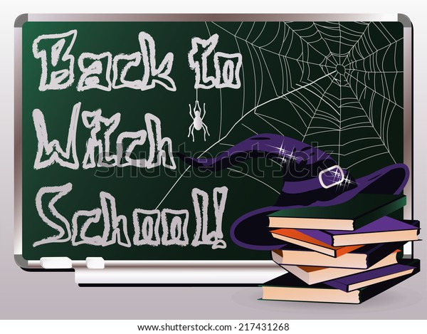 Back Witch School Invitation Card Vector Stock Vector (Royalty ...