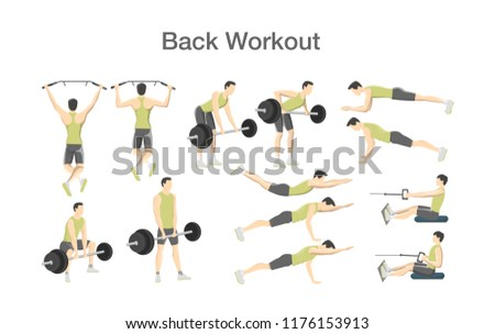 Back Workout For Men With Barbell And Exercise Machine Sport Muscle Building