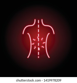 backache icon in neon style. Element of human body pain for mobile concept and web apps illustration. Thin line icon for website design and development, app development