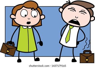 Backache - Office Businessman Employee Cartoon Vector Illustration