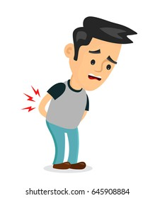 backache problems.vector flat cartoon concept illustration of men character design icon. Isolated on white background. Pain in back,backache, ache, hurt, suffering