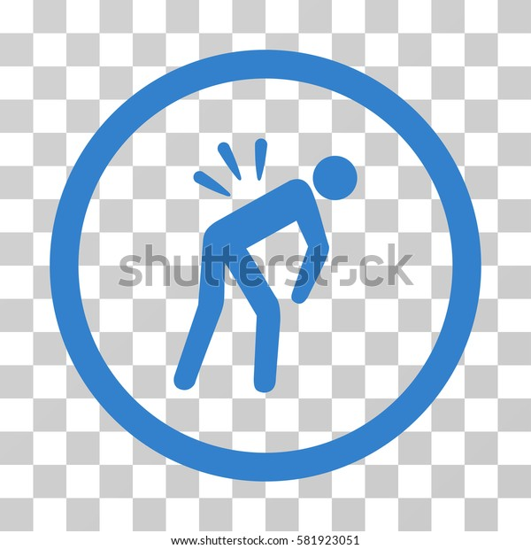Backache vector pictograph. Illustration style is a flat iconic cobalt symbol on a transparent background.
