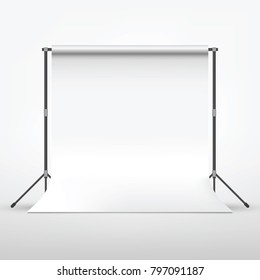 Backdrop Photgraphy Studio with Clean White Canvas Isolated