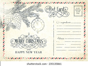 Backdrop of postal card for happy new year holiday. Vector illustration.