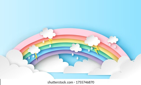 Backdrop of rainbow on the clouds in rainy season. Abstract Rainbow in the rainy season. paper cut and craft design. vector, illustration.