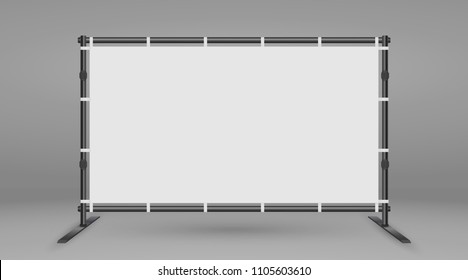 Backdrop Stand For Banners. White blank advertising press wall