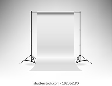 Backdrop stand with white backdrop