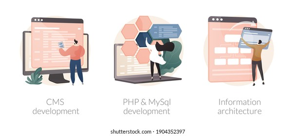 Backend development abstract concept vector illustration set. CMS development, PHP and MySql information architecture, website programmer, coding software, interface web design abstract metaphor.