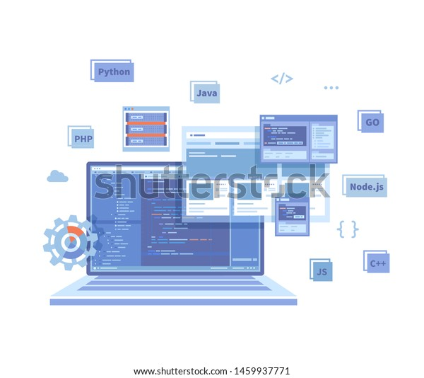 Backend Development Coding Software Engineering Programming Stock Vector Royalty Free 1459937771