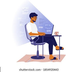 Backend or frontend developer coding and chatting by laptop. Man sitting at table and working online. Home office of programmer. Guy freelancer and program code in light of screen. Vector illustration