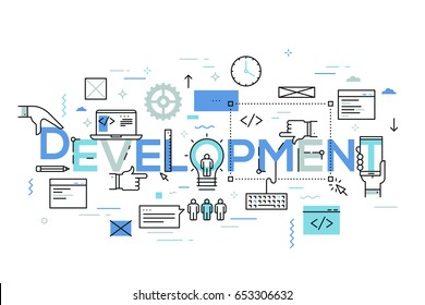 Back-end and front-end software development, program coding and testing, programming languages, computer technology. Modern infographic banner with elements in thin line style. Vector illustration.