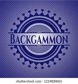 Backgammon badge with denim texture