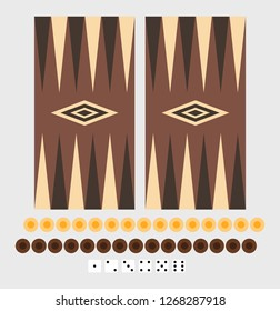 backgammon game board set, two sets of 15 checkers and dice numbers set. Vector for your design or logo