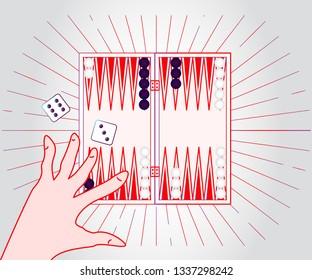 Backgammon game human hand
