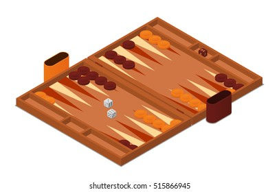 Backgammon game vector isometric illustration