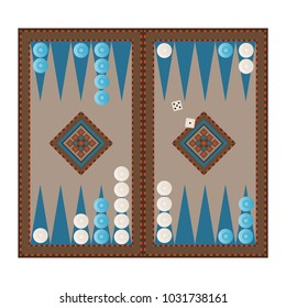 Backgammon game vector. Wooden antique backgammon strategy table game with dice vectors