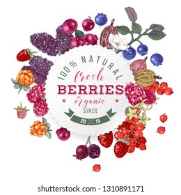 Backgrond with round emblem, type design and bright hand drawn berries. Vector illustration