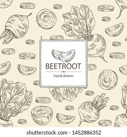 Backgroumd with beet: full beetroot and piece of beet. Vector hand drawn illustration