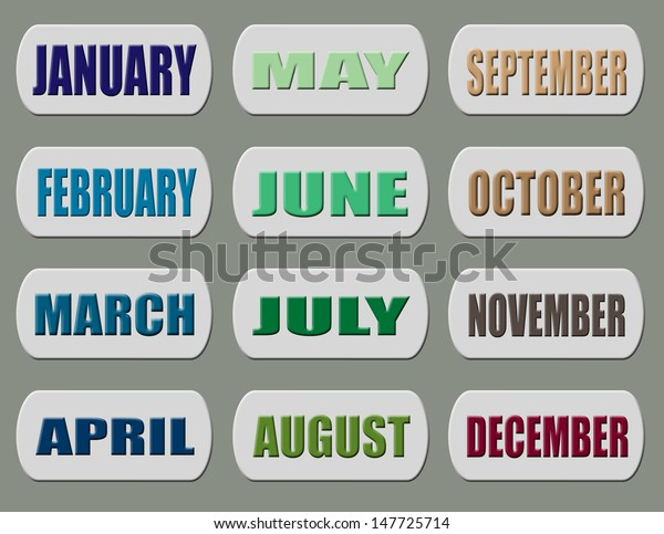 Background 12 Months January December Vector Stock Vector