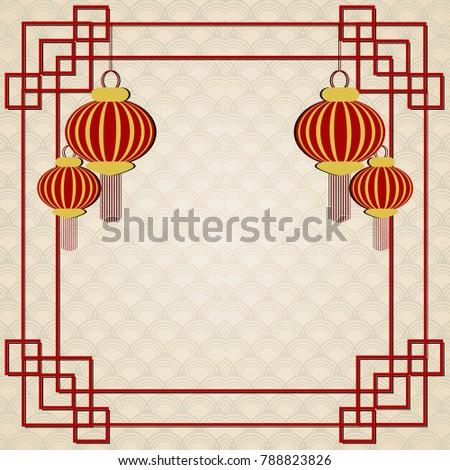 background for 2018 chinese new year vector illustration greating card decorated with chinese lantern