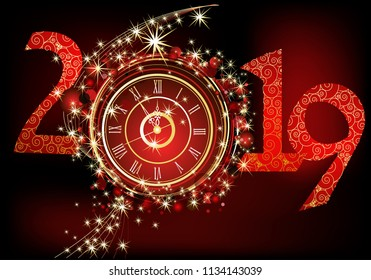 Background for 2019 New Year, combination of gold and red colour