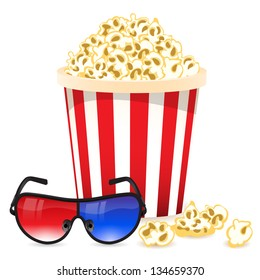 Background with 3D glasses and popcorn