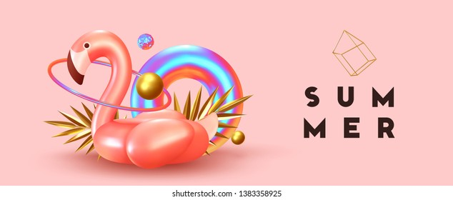 Background with 3d objects, bird shape pink flamingo, torus lifebuoy color gradient, golden balls and rings. Trendy banner, poster, website cover. Summer Minimal Abstract Horizontal Background