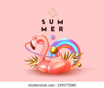 Background with 3d objects, bird shape pink flamingo, torus lifebuoy color gradient, golden balls and rings, gold palm leaves. Trendy banner, poster, website cover. Summer Minimal Abstract Background