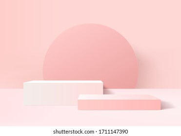 Background 3d pink love rendering with valentine product and minimal pink stage scene, minimal pink background 3d rendering abstract for product pink pastel. Stage 3d for product in backdrop studio - Shutterstock ID 1711147390
