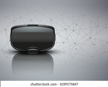 Background of 3d VR headset and Blockchain. Front view. Vector illustration.