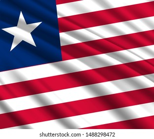 Background with 3d waving flag of Liberia